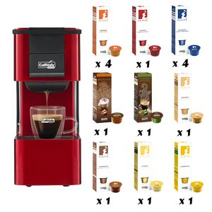 PACK CAFFITALY CAPSULEMACHINE IRIS ROOD + 150 CAPSULES NAAR KEUZE